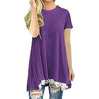 Luckycat Mujer Camiseta T-Shirt Mini Vestido Verano Encaje Dobladillo Túnica Tops Estival de Manga Corta Casual Ropa Tamaño Grande