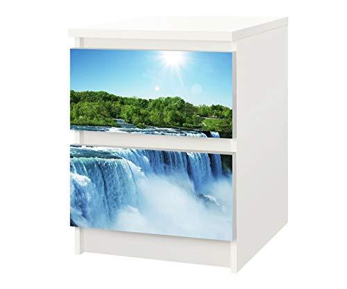Wasserfall Schublade (Set Möbelaufkleber für Ikea Kommode MALM 2 Fächer/Schubladen Niagara Wasserfälle Kat10 Landschaft Natur Wasserfall Aufkleber Möbelfolie sticker (Ohne Möbel) Folie 25F408)