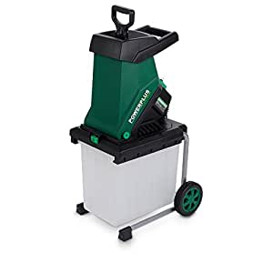 Powerplus Electric Blade Shredder 2500 Watt Mulcher With 40mm Diameter Cutting Capacity, 50 Litre Collection Box & Wheel Mounted For Portability POW6451 - 2 Year Home User Warranty - Perfect For Garden Composting