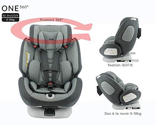 Siège auto isofix ONE 360° pivotant groupe 0+/1/2/3 (0-36kg) - Dos à la route 0-18kg - Housse confort - Protection latérale - Migo