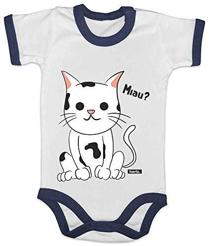 HARIZ Baby Body Ringer Lustige Katze Tiere Zoo Inkl. Geschenk Karte Weiß/Navy Blau 12-18 Monate (Katze Kostüm 18 Monat Alt)