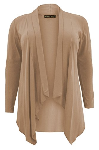 Chocolate Pickle ® Nouveaux Femmes Grande Taille de Jumbo Hanky Hem Cascade Cardigans 44-54 Moka