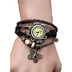 PromiseU Women's Quartz Butterfly Weave Wrap Synthetic Leather Bracelet Wrist Watch -Coffee