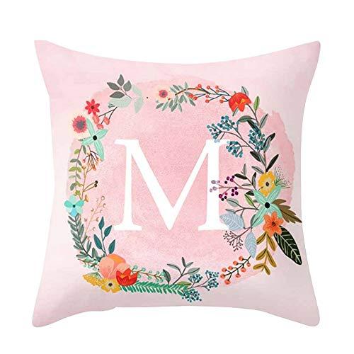 Amesii - Funda de cojín con diseño de Letras Rosas para sofá,...