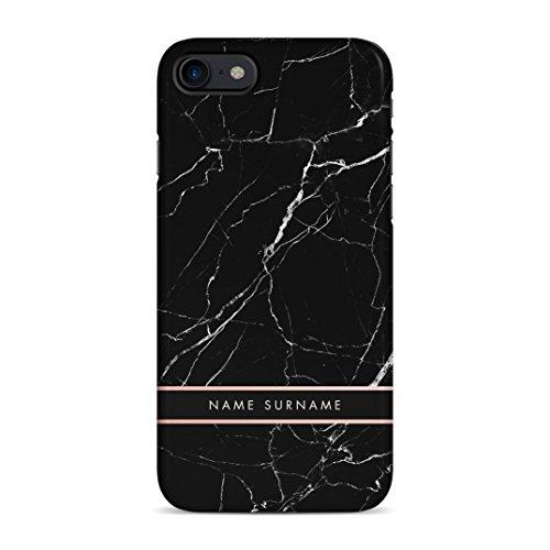 Personalisiert Customizable First and Last Name Initiale Custom Schwarz Marmor Schutzhülle aus Hartplastik Handy Hülle für iPhone 7/iPhone 8 Case Hard Cover Hard Case Handy Cover