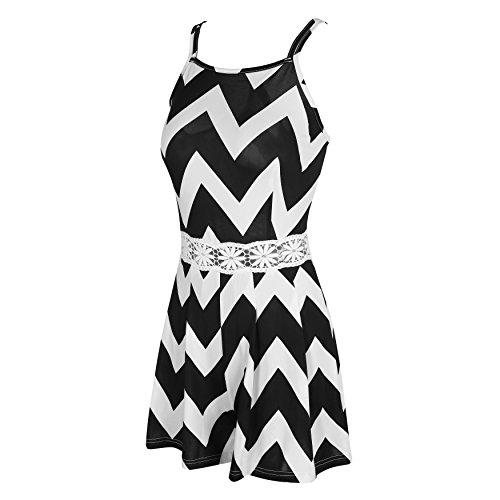 SUNNOW® Sexy Une Pièce Combinaison Jumpsuit Casual Halter dos-nu Dentelle Combishort Pantalons-élégant Femme Noir-Blanc Rayures