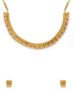 Voylla Golden Metal Necklace Set For Women