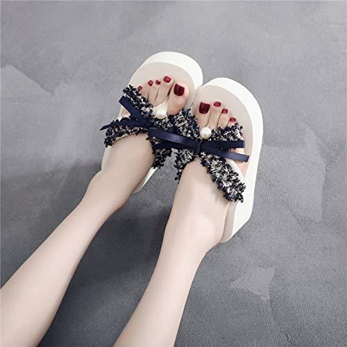 Banbie8409 Frauen Sandalen Flip Flops Plattform Keil Perlen Butterfly Thong Schuhe (Beige-Navy grün-6CM - 41-183#) Butterfly Thong Sandal