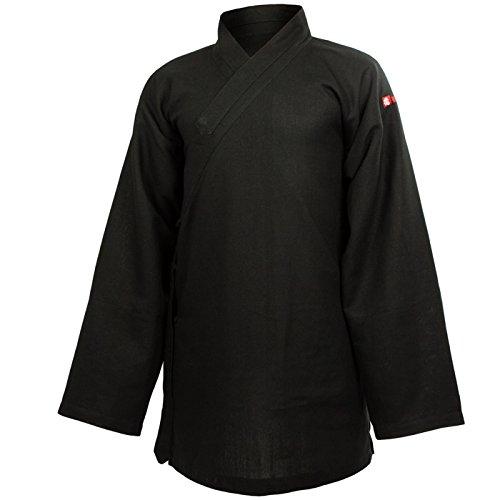 wu designs Leinen (schwer) Tai Chi Oberteil diagonaler Kragen - Taiji Shirt - Tai Chi Anzug - Kung Fu - Wushu - Schwarz - 175