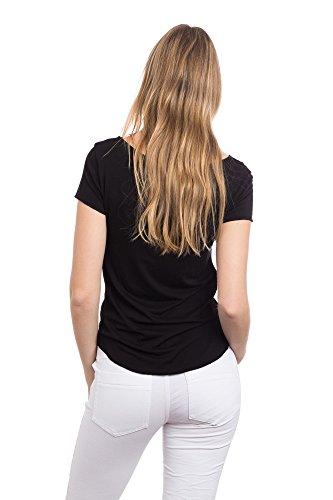 Abbino 267923 Basics Shirts Tops Damen - Made in Italy - 5 Farben - Sommer Frühjahr Herbst Übergang Damenshirts Damentops DamenT-Shirts Unifarbe Lässig Kurzarm Sexy Sale Freizeit Elegant Schwarz