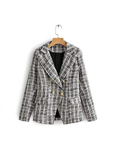 ZHUANG Traje Otoño Conjunto De Dos Piezas Mujer Blazer De Tweed De Cuadros Escoceses + Minifalda Elegante...