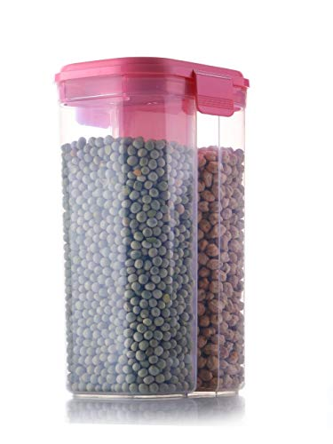 Slings 2 Section Food Storage Dispenser Airtight Container Jar for Cereals, Snacks, Pulses - 2500ml, Clear (1)