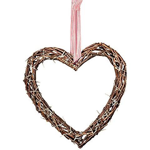 Illuminato e cuore in legno a forma di cuore in legno con catena marrone