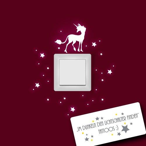 Einhorn Wandtattoo mit Sternen fluoreszierend für Lichtschalter leuchtend fluoreszierend nachtleuchtend Wandaufkleber Wandsticker M952