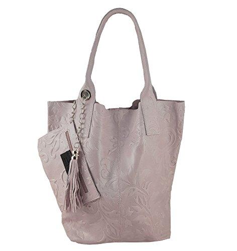 Damen Echtleder Shopper mit Schmucktasche in vielen Farben Schultertasche Henkeltasche Handtasche Metallic look Rosa Prägung