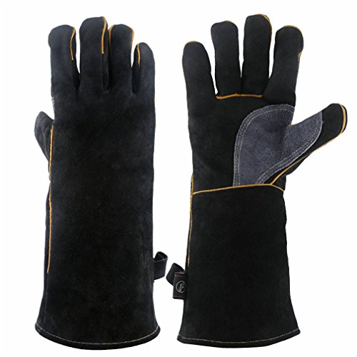 Men's Gloves 1 Pair Insulated Fire Resistant Long Sleeve Leather Gloves For Grill Pot Holder Bbq Welding Stove Oven Fireplace 100% Guarantee