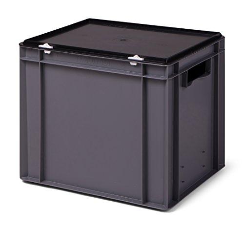 Euro-Stapelbox/Lagerbehälter KTK 400/320-0, grau mit schwarzem Verschluß-Deckel, 400x300x331 mm (LxBxH)