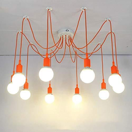 GWFVA Moderne Big Spider Industrie Schwarz Vintage Pendelleuchte Loft LED 10 Lichter E27 Hängeleuchten Für Wohnzimmer Restaurants Bar (10 Arten) 2 mt Linienlänge, Orange
