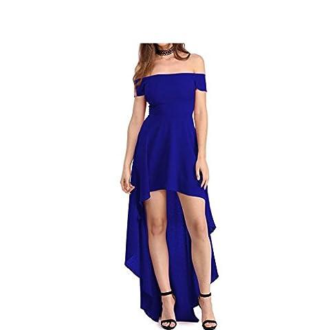 Erica Femmes Occasionnels / Sorties / Party Off épaule Asymétrique Swing Dress, manches courtes , blue , xxl