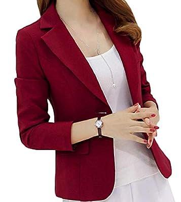 Energy Women's Pockets Button Long-Sleeve Lapel Fall Winter Solid Blazer Suit