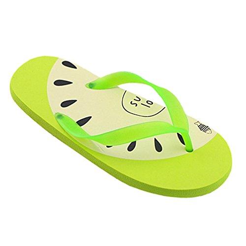 Heheja Donna Cartone Animato Clip Toe Flip Flop Estate Spiaggia Infradito Verde