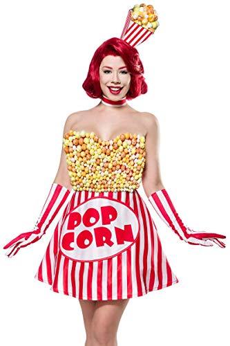 Kostüm Süßigkeit - Unbekannt Damen Popcorn Girl Fantasy Kostüm Süßigkeiten Verkleidung aus Kleid, Haarreif, Handschuhe in bunt Popcorntüten-Form XXL