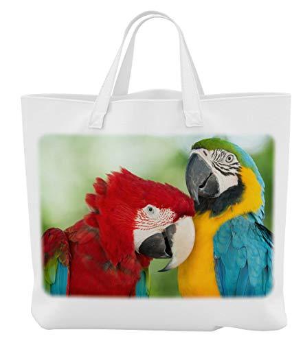 Merchandise for Fans Einkaufstasche - 45 x 42 cm x 9,5 cm, 18 Liter - Motiv: Papagei/Ara Zwei Tiere rot/blau und gelb/blau - 01 -