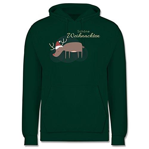 Weihnachten & Silvester - Schöne Weihnachten Elch Weihnachtsmütze - Männer Premium Kapuzenpullover / Hoodie Dunkelgrün