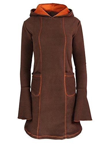 PUREWONDER Damen Kleid aus Fleece mit Kapuze dr11 Braun XL
