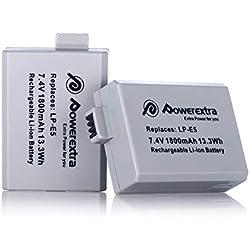 Powerextra 2pcs batteries lP-e5pour canon eOS 1000d | 450d | 500d | EOS Rebel T1i | XS | XSi