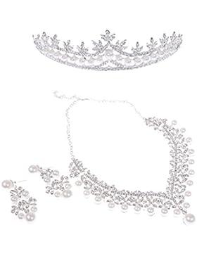 MagiDeal Kristall Perlen Halsketten + Ohringe + Tiara Set Hochzeit Braut Party Schmuckset