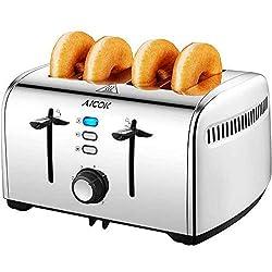 Aicok Toaster, Edelstahl Toaster mit Abnehmbarer Krümelschublade (1700 Watt, bis zu 4 Brotscheiben und 7 Bräunungsstufen) , glatter Edelstahl, Silber