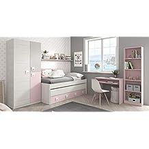 Miroytengo Pack Muebles habitación Infantil Completa Dormitorio Juvenil Color Rosa con somieres incluidos (Cama +