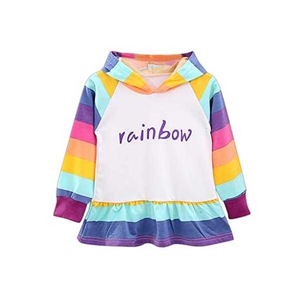 Niña Jersey de Algodón Arcoiris Corto Sudaderas Vestir con Capucha Chica Sudadera Primavera Brillante Camisa Delgada y… 1