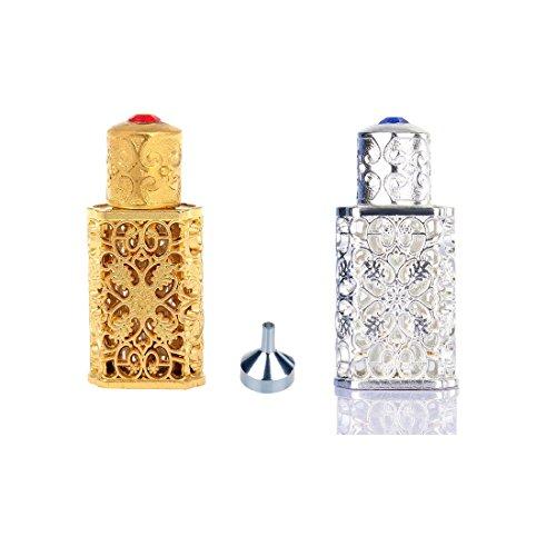 H&D Mini Reisen Portable Leer Parfüm Flasche mit Geprägte hohle Blumen und 1 Stück Trichter (Silber und Gold) (Blumen-parfüm-flasche)