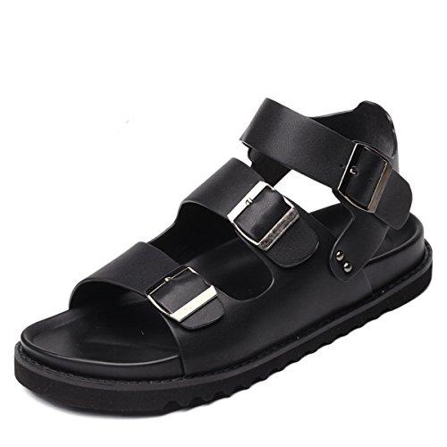 Herren Modische Sandalen Bequeme Soft Leder Dick Gummi Sohle Anti-Rutsch Leichte Sommer Schuhe Schwarz