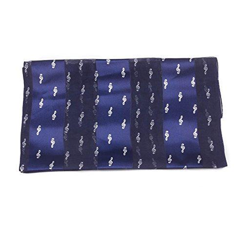 Mytoptrendz® Marineblau Satin Chiffon Streifen Schal bedruckt mit kleinen Weiß Shiny Notenschlüssel Note (Silk Chiffon Scarve)