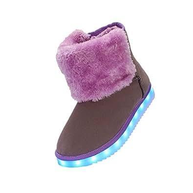 ACMEDE Damen LED Stiefel Schlupfstiefel Winterstiefel Boots Schneestiefel warm gefüttert LED Leuchtende Schuhe