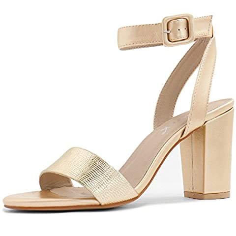 Allegra K Woman Textured Vamp Chunky Heel Ankle Strap Sandals Gold (Size US 6)