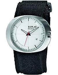 Replay RX5203AH - Reloj con correa de textil para hombre, color blanco / gris
