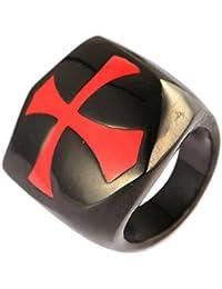 UM joyería Vendimia Acero inoxidable peltate Cruzar motorista Hombres anillos rojo Negro
