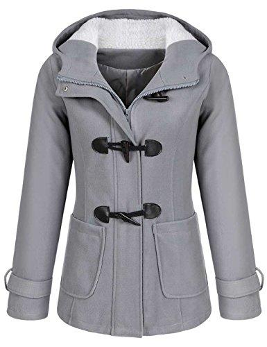 CRAVOG Damen Wollmantel Wintermantel Dufflecoat Wolljacke Mantel mit Kapuze Parka Trenchcoat warm