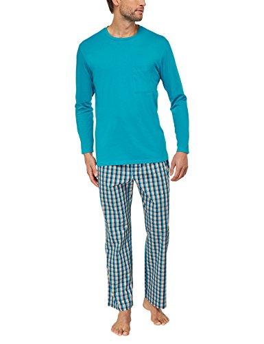 Seidensticker Herren Zweiteiliger Schlafanzug Anzug Lang Blau (türkis 807)