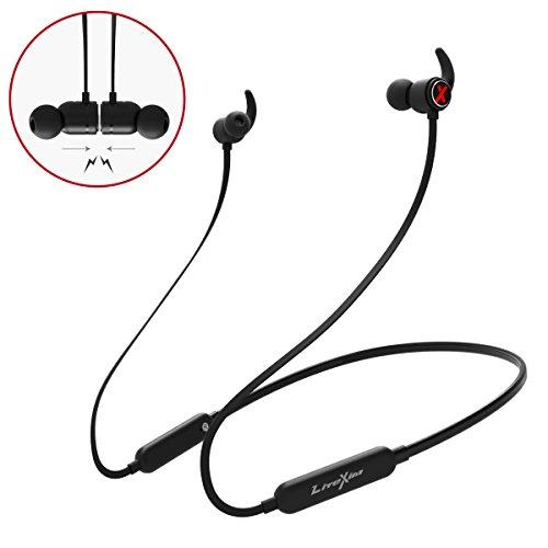 Auricolari bluetooth magnetici, litexim h9 auricolari sportive impermeabili ipx5 stereo wireless ultraleggere(9-12 ore di riproduzione, cancellazione del rumore cvc, microfono mmi)