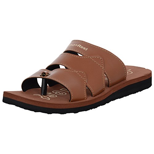 Ortho + Rest Brown Slippers for Men (Size: 6)