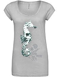 Stitch & Soul Damen T-Shirt mit Wendepailletten Seepferdchen-Motiv | Bequemes Shirt aus hochwertigem Jersey-Material