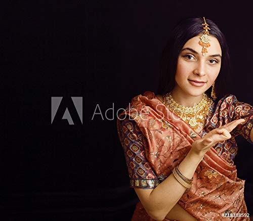 druck-shop24 Wunschmotiv: Beauty Sweet real Indian Girl in Sari Smiling on Black backgroun #218388592 - Bild als Foto-Poster - 3:2-60 x 40 cm / 40 x 60 cm Black Indian Girl