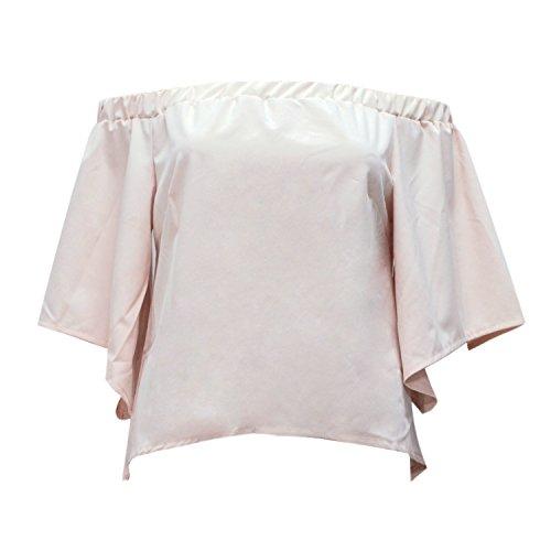 LAEMILIA T-shirts Chemise Bustier Femme en Mousseline de Soie Été Sexy Épaule Nue Uni Vest Basique Shirt Blouse Beige