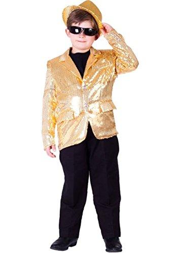 Für Kostüm Erwachsene Jacke Pailletten Gold - Dress Up America Komplett gefütterte Gold Pailletten Jacke für Kinder