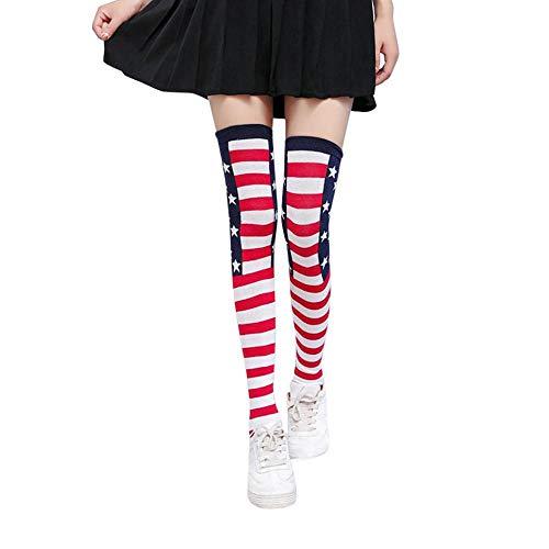 Jaysis Women/Girls Stripe Stars Stripe Tube Socks Over Knee Thigh High Cute Punk Stockings Christmas Socks